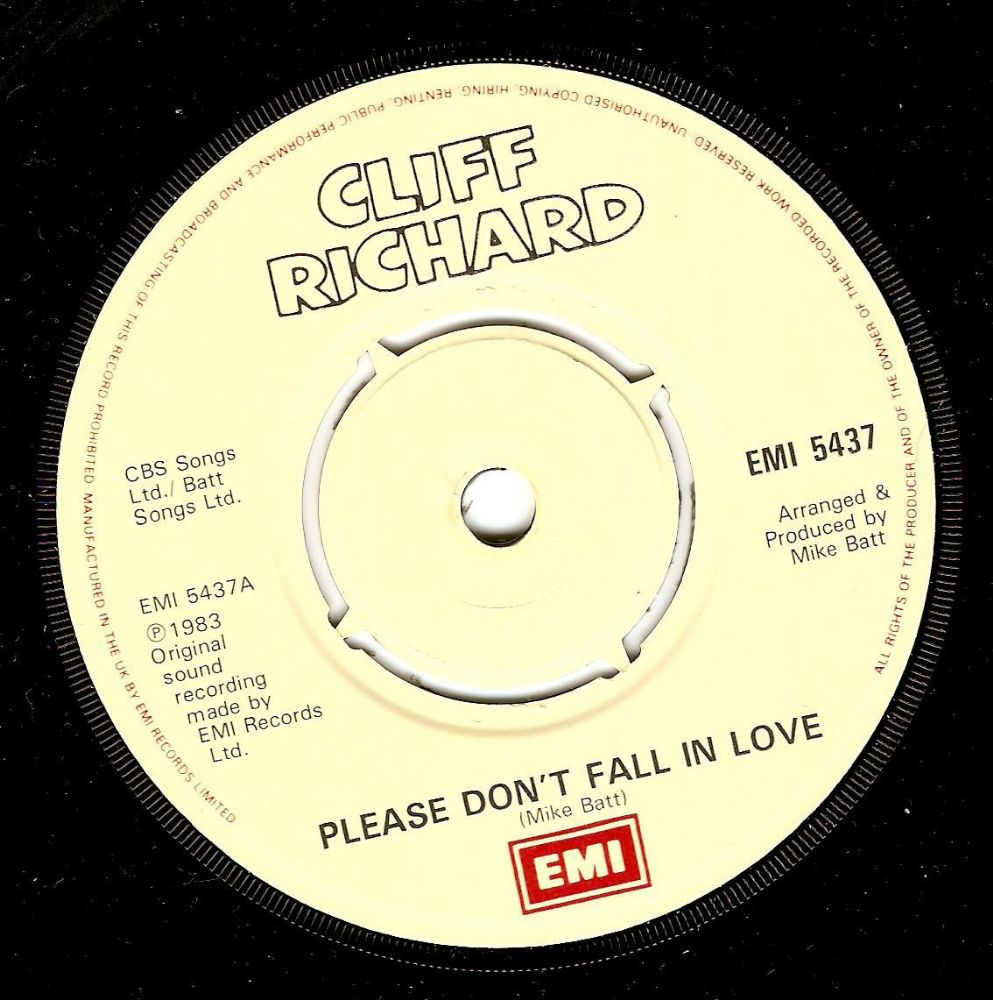 CLIFF RICHARD Please Don't Fall In Love Vinyl Record 7 Inch EMI 1983